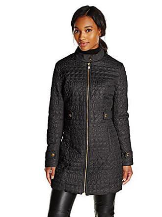 Via Spiga Womens Military Collar Lightweight Quilted Jacket, Black, Medium
