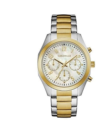 Zales Ladies Caravelle by Bulova Two-Tone Chronograph Watch with Mother-of-Pearl Dial (Model: 45L169)