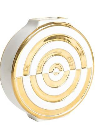 Jonathan Adler Futura Bullseye Vase - White & Gold
