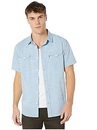 Levi's Bucci Short Sleeve Woven Shirt (Parisian Blue) Mens Clothing