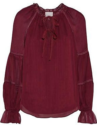 b7f145084f899 Cinq à Sept Cinq À Sept Woman Romy Gathered Silk-georgette Blouse Claret  Size XXS