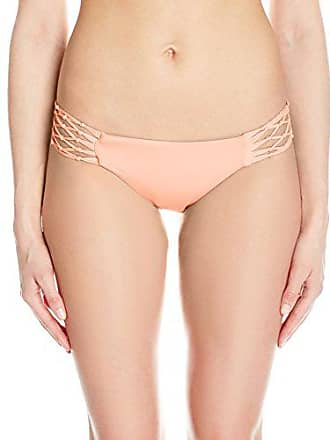 Quintsoul Womens Macrame Low-Rise Bikini Bottom with Cinching, Light Coral, Large