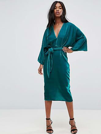 Asos ASOS - Robe kimono mi-longue en velours avec décolleté plongeant et  lien à f69a822cda67