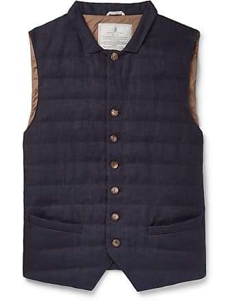 Brunello Cucinelli Slim-fit Quilted Linen Down Gilet - Navy