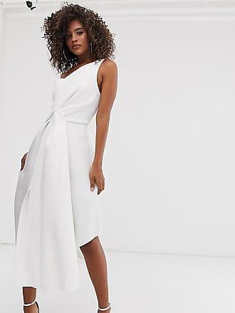 e2882863f3 Asos Tall ASOS DESIGN Tall self stripe one shoulder fold detail prom midi  dress - White