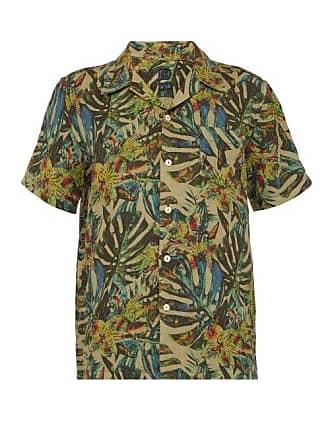 120% Lino Palm Leaf Print Linen Bowling Shirt - Mens - Green Multi