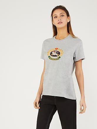 Burberry T-shirt femme en coton avec logo darchive brodé Gris Burberry 5788e3d4d03