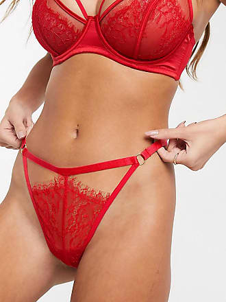 Wolf & Whistle lace cut out thong in red
