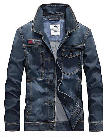 c5b68f56 GAOLIXIA Spring Autumn Mens Denim Jacket Thin Youth Lapel Flying Jacket  Mens Jacket (Color :