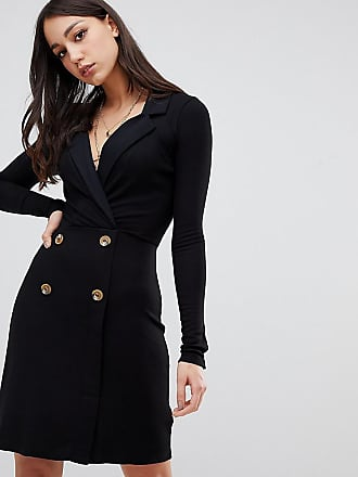 Asos Tall ASOS DESIGN Tall mini rib double breasted blazer dress with faux horn buttons - Black