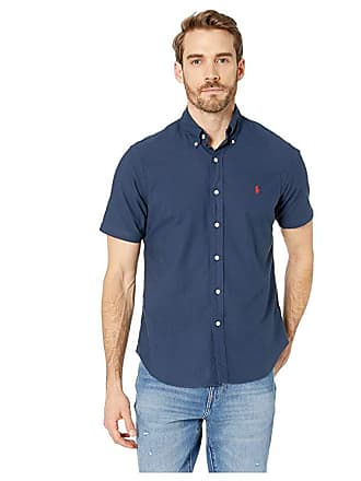 6fc5c975 Polo Ralph Lauren Short Sleeve Solid Garment Dyed Oxford Classic Fit Sport  Shirt (RL Navy