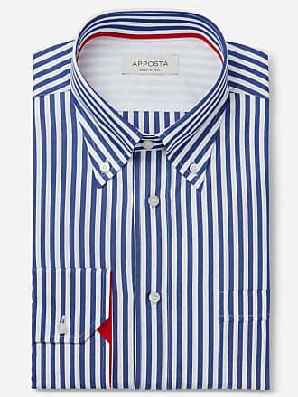 Apposta Camicia righe blu 100% puro cotone tela, collo stile button down