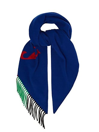 Burberry Logo Intarsia Wool Blend Scarf - Womens - Navy