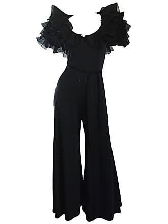 50bcfb3e058e MIGNON Exquisite Vintage Mignon Black Chiffon Sleeves Jersey Belted Wide  Leg Jumpsuit