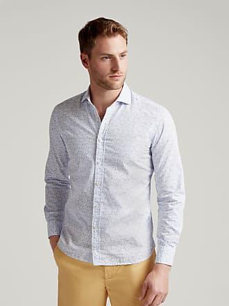 Hackett Mens Seaside Print Cotton Shirt   Medium   White/Sky
