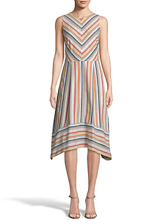 5twelve Striped Jewel-Neck Sleeveless Fit-&-Flare Dress
