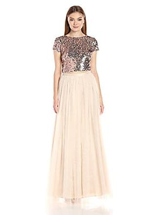 Adrianna Papell Womens Short Sleeve Sequin Crop Top with Tulle Skirt, Rose Gold/Nude, 12