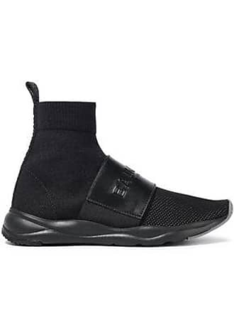 266bedfe6ad Balmain Balmain Woman Embossed Leather-trimmed Stretch-knit High-top  Sneakers Black Size