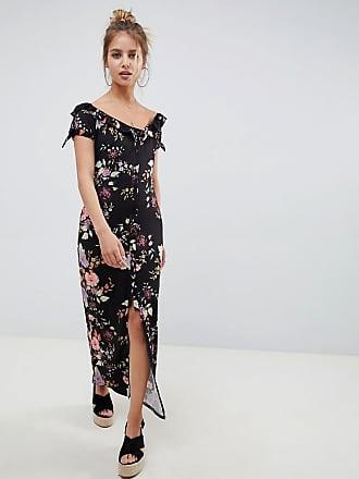Asos button through sweetheart neck maxi dress in floral print - Multi