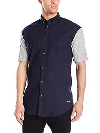 Zanerobe Mens Colorblock 7 Foot Tall Short Sleeve Button Down Shirt, Navy/Grey Marle, Small
