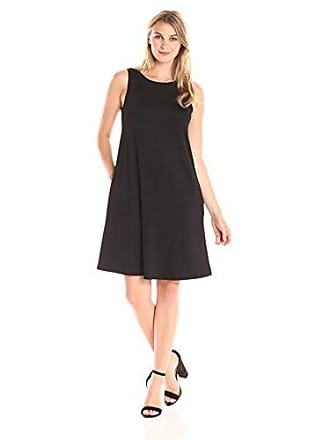 Kasper Womens Solid Swing Dress, Black, L