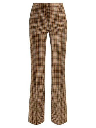 Rochas Checked Wool Blend Flared Trousers - Womens - Brown Multi