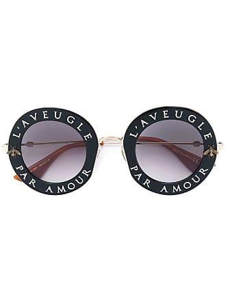 Gucci Óculos de sol armação redonda - Preto