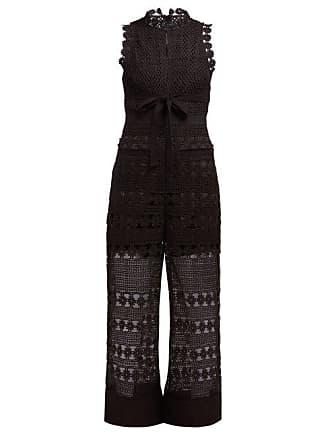 eacabbdcac11 Self Portrait Floral Crochet Tie Waist Jumpsuit - Womens - Black