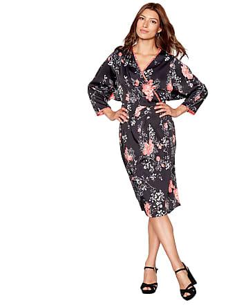 55723fde7371a Debenhams Debut Womens Black Floral Print Satin Wrap Dress 16