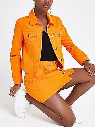 River Island Womens Bright orange denim fitted jacket