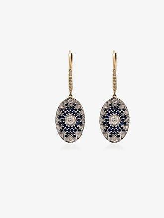 Yvonne Léon diamond and sapphire disc drop earrings
