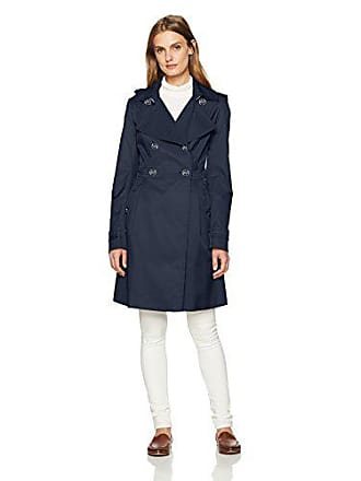 8070e2da Tommy Hilfiger Womens Feminine Double Breasted Hooded Raincoat, Navy, Extra  Small