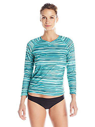 Kanu Surf Womens UPF 50+ Long Sleeve Active Swim Tee & Workout Top, Green, X-Large