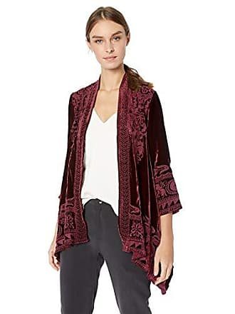 Johnny Was Womens 3/4 Sleeve Knit Draped Cardigan with Embroidery, Dark Spice, XS