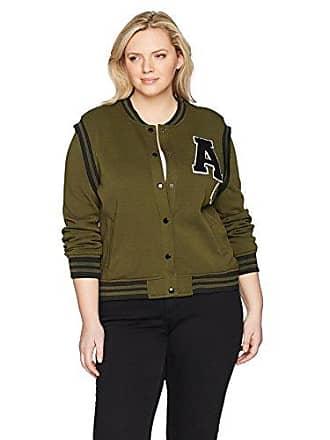 Yoki Womens Plus Size Varsity Fleece Jacket, Olive 1X