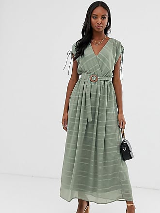 2968dea363 Asos Tall ASOS DESIGN Tall wrap front maxi dress with buckle belt in self  stripe