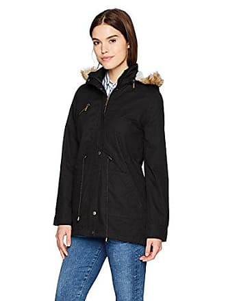 Yoki Womens Anorak Twill Jacket with Teddy Faux Fur Lining and Hood, Black Small