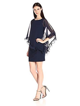 27684000 Xscape Womens Short Ity with Ruffle Hem Chiffon Overlay, Lovely Navy, 4