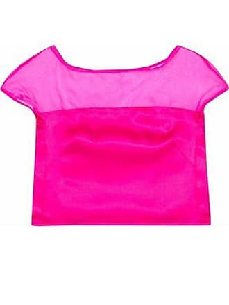 Milly Milly Woman Cropped Silk-organza And Satin Top Bright Pink Size 10
