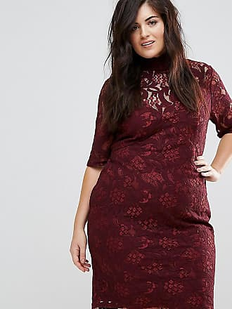 Lovedrobe Allover Floral Lace Pencil Dress With Tie Back Detail - Red