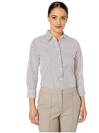 d0ae2720d Ralph Lauren Petite Striped No-Iron Button Down Shirt (White/Lipstick Red  Multi