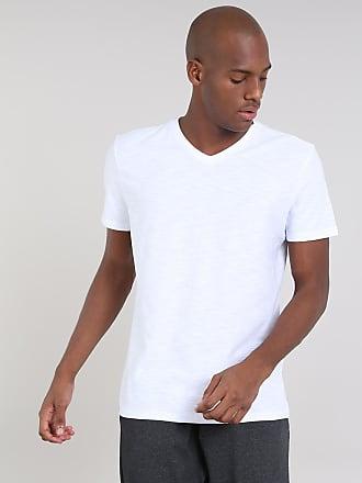 f19146b350 Basics Camiseta Masculina Básica Flamê Manga Curta Gola V Branca