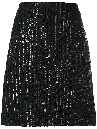 Nina Ricci sequin stripes straight skirt - Preto