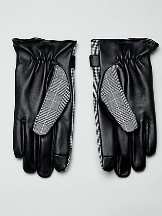 Asos leather prince of wales check touchscreen gloves in black - Black