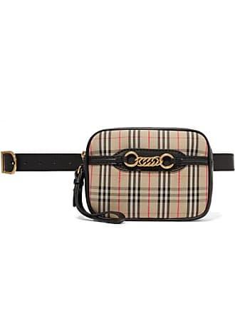 8475107e1af9 Burberry Embellished Leather-trimmed Checked Cotton-drill Belt Bag - Beige