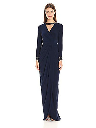 370c61614c4 Adrianna Papell Womens Long Sleeve Rouched Jersey Gown with Beaded Cuffs