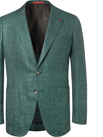 Isaia Forest-green Sailor Wool, Silk And Linen-blend Blazer - Green