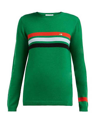 Bella Freud Daytona Striped Cashmere Sweater - Womens - Green Multi