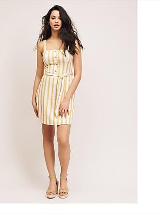 Dynamite Square Neck Cami Dress White & Yellow Stripe