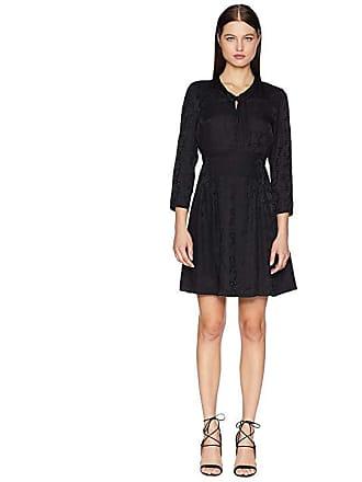 38f76112343b2 Rebecca Taylor Long Sleeve Jacquard Silk Dress (Black) Womens Dress